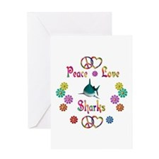 Peace Love Sharks Greeting Card