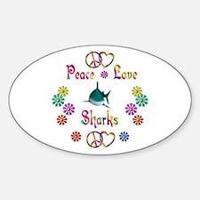 Peace Love Sharks Decal