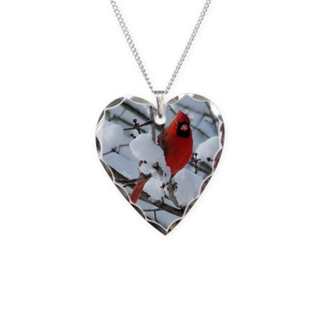 Snow Cardinal Necklace Heart Charm