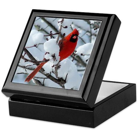 Snow Cardinal Keepsake Box