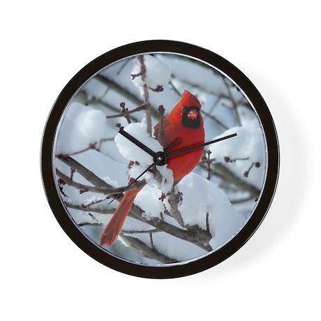 Snow Cardinal Wall Clock