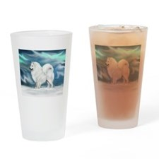 Samoyed and Northern Lights Drinking Glass
