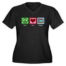 Peace Love Puppets Women's Plus Size V-Neck Dark T