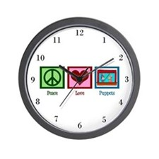 Peace Love Puppets Wall Clock