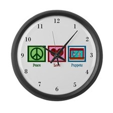 Peace Love Puppets Large Wall Clock