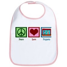 Peace Love Puppets Bib
