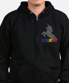 Believe in Unicorns Zip Hoodie (dark)