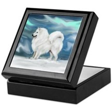 Samoyed and Northern Lights Keepsake Box
