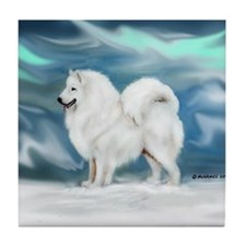 Samoyed and Northern Lights Tile Coaster