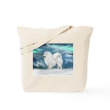 Samoyed and Northern Lights Tote Bag
