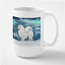 Samoyed and Northern Lights Large Mug