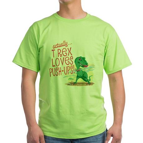 T Rex Loves Push-Ups Green T-Shirt