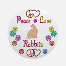 Peace Love Rabbits Ornament (Round)