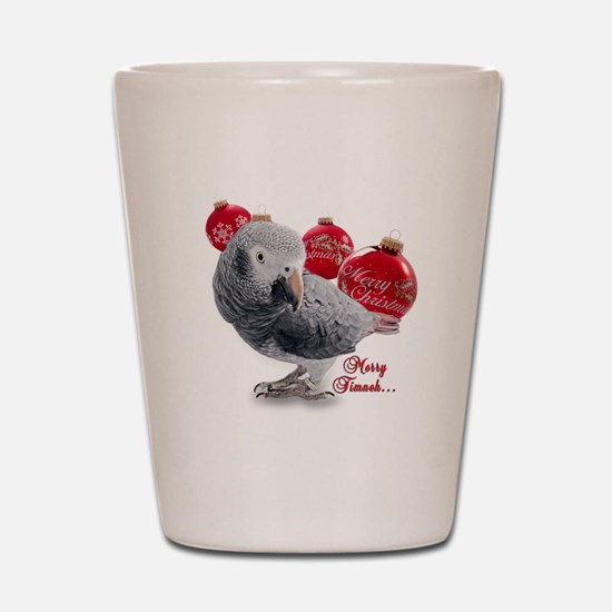 African Grey Parrot Holiday Shot Glass