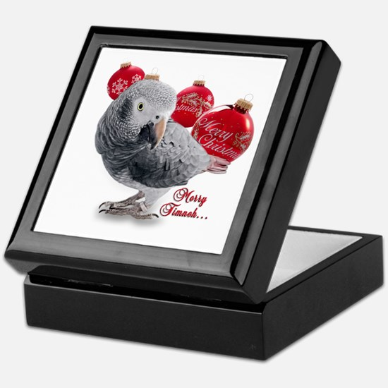 African Grey Parrot Holiday Keepsake Box
