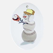 Baseball Snowman Ornament (Oval)