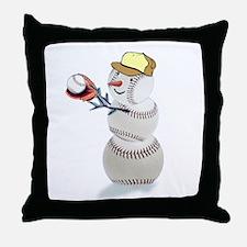 Baseball Snowman Throw Pillow