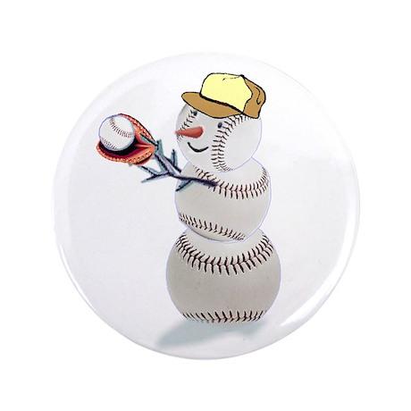 """Baseball Snowman 3.5"""" Button (100 pack)"""