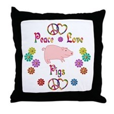 Peace Love Pigs Throw Pillow