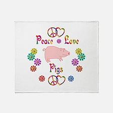 Peace Love Pigs Throw Blanket