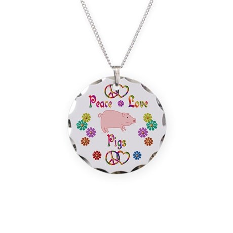Peace Love Pigs Necklace Circle Charm