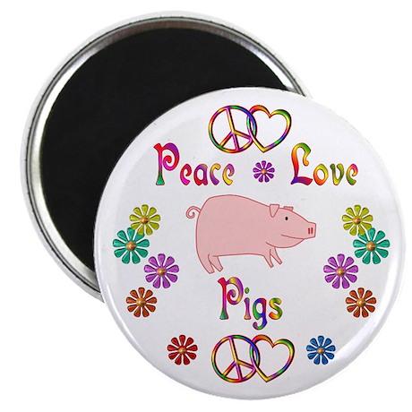 Peace Love Pigs Magnet