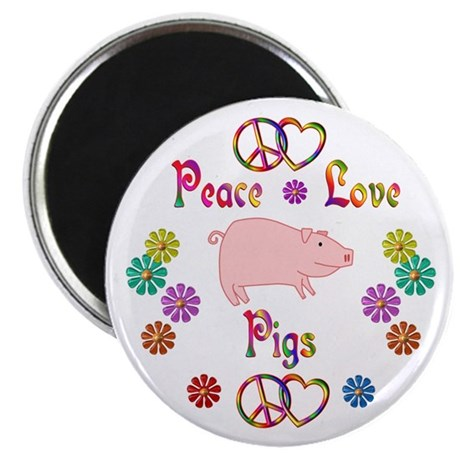 "Peace Love Pigs 2.25"" Magnet (10 pack)"
