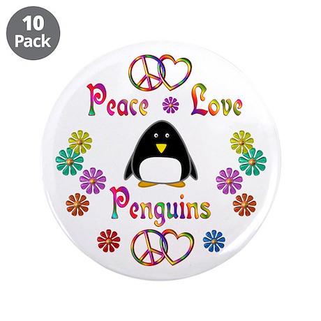 """Peace Love Penguins 3.5"""" Button (10 pack)"""