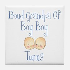 Proud Grandpa of Boy Twins Tile Coaster