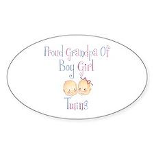 Proud Grandpa of Boy/Girl Twi Oval Decal