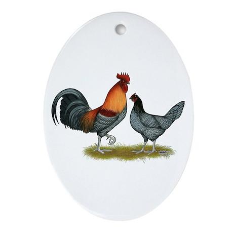 Delaware Blue Hen Ornament (Oval)