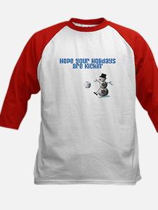 Soccer Ball Snowman Kids Baseball Jersey