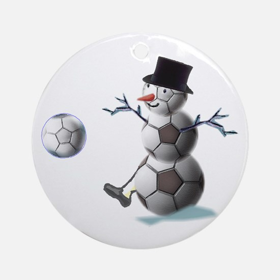 Soccer Ball Snowman Ornament (Round)