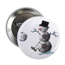 "Soccer Ball Snowman 2.25"" Button (10 pack)"