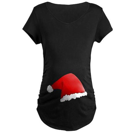 Christmas Santa Hat Maternity Dark T-Shirt