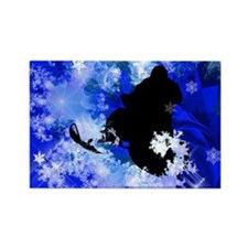 Cute Snow mobile Rectangle Magnet
