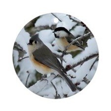 Tufted Titmouse & Chickadee Ornament (Round)