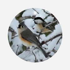 Tufted Titmouse & Chickadee Ornament (Round)