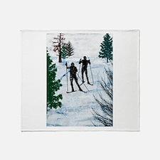 Cute Cross country ski Throw Blanket