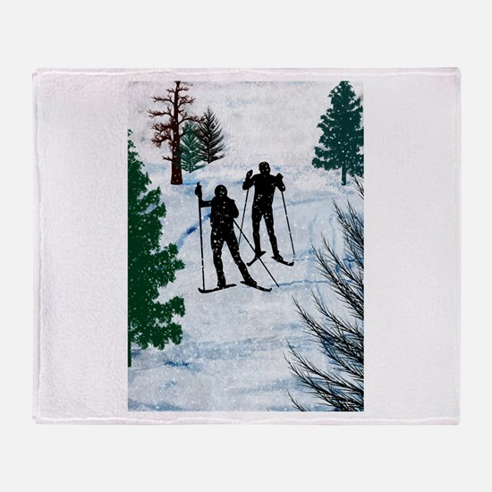 Funny Ski Throw Blanket