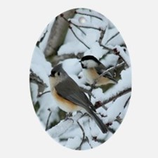 Tufted Titmouse & Chickadee Ornament (Oval)