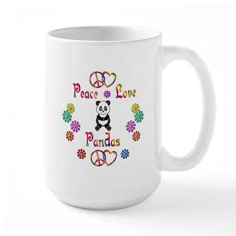 Peace Love Pandas Large Mug
