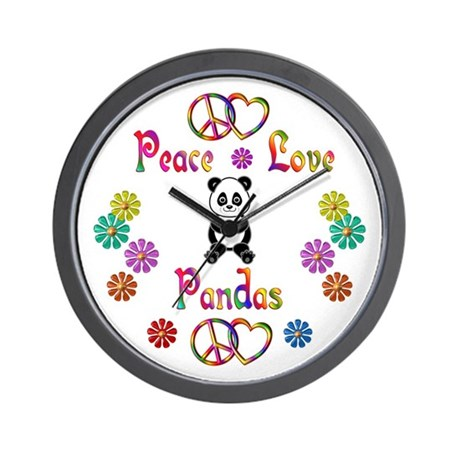 Peace Love Pandas Wall Clock