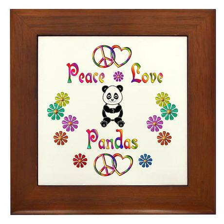 Peace Love Pandas Framed Tile