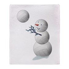 Volleyball Snowman Throw Blanket