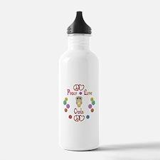 Peace Love Owls Water Bottle