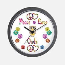Peace Love Owls Wall Clock