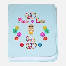 Peace Love Owls baby blanket