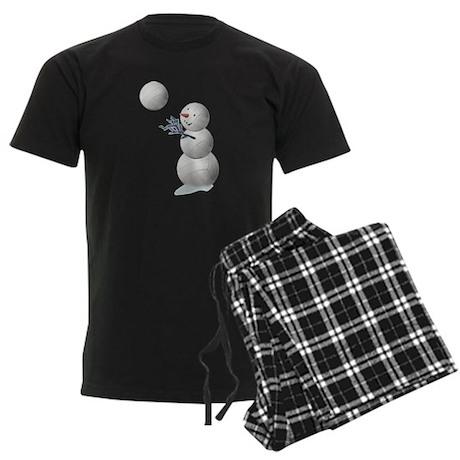 Volleyball Snowman Men's Dark Pajamas