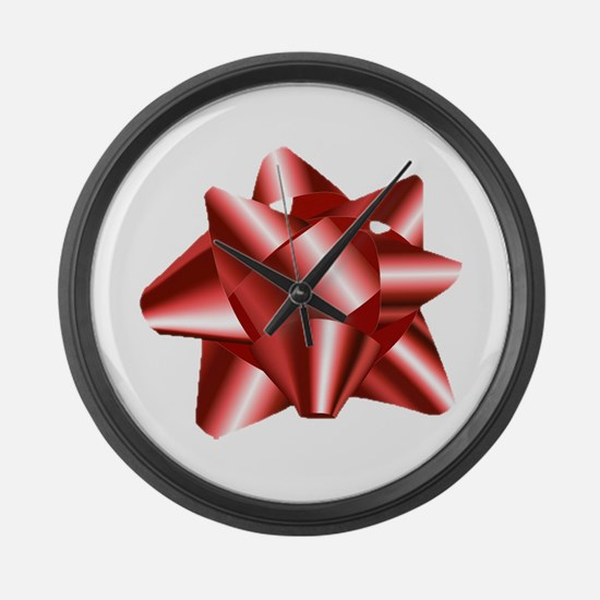 Christmas Red Bow Large Wall Clock